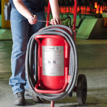Maintenance wheeled fire extinguishers
