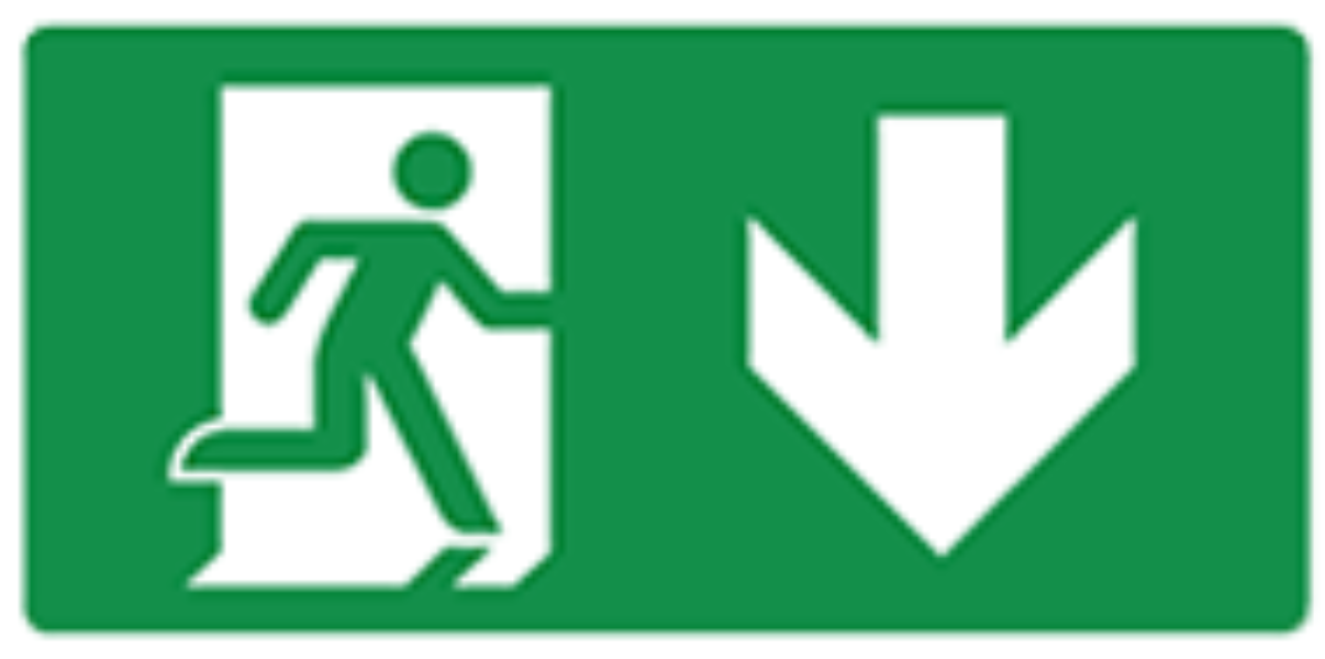 Pictogram escape route down